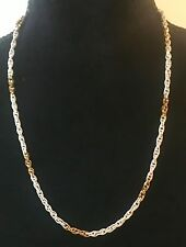 "Women's Gold and White Thin Chain Fashion Necklace 24"" - Excellent Condition!"