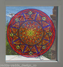 "CLR:WND - FIRE Element Mandala - Stained Glass Window Vinyl Decal ©YYDC 7.5""dia"