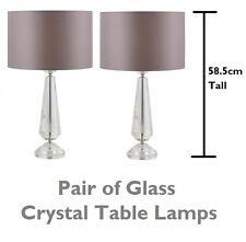 Pair of Tall Modern Glass Table Light Bedside Lamp Lights Taupe Shades