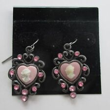 cc pink cameo heart Dangle Earrings claire's jewelry marky kate ashley