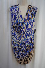 Nine West Dress Sz 6 Multi Color Atlantic Blue Combo Sleeveless Business Dinner