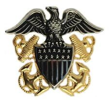 """US Navy Officer Cap Badge Pin 2-1/2"""" Metal Captain Admiral Hat Gold & Silver"""