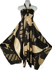 Pyramid Collection Crisscross Halter Dress L Large Satin Scarf A-line Asymmetric