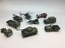 9 Military Vehicles Army Tank Jeep Truck Helicopter Hot Wheels Yatming Toy Mix