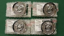 JAGUAR GREY SILVER ALLOY WHEEL CENTER CAP BADGES BADGE NEW GENUINE SET OF 4