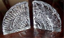 Gorgeous Vintage Waterford Crystal Quadrant Bookends Pair Signed