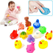 12PCS CUTE NEWLY BABY BATHING TOYS SILICONE GEL RUBBER SQUEAK ANIMALS WASH GIFT