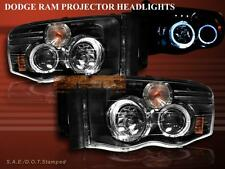 02 - 05 Dodge Ram Twin Halo Ring Projector Headlights LED Black