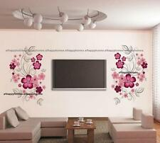 Stylish VINE FLOWERS Pink Black Blossom Wall Stickers Decal Art Bed TV Lounge