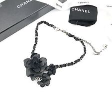 Chanel Black Flowers Necklace