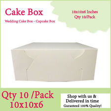 CAKE BOXES 10x10x6 Inches Qty 10/Pack Brand New - Wedding Cake Box - Cupcake Box
