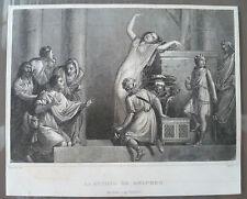 GRAVURE SUR ACIER XIXeme   LA PITHIE DE DELPHES (ORACLES)  / JACQUE - JEANRON