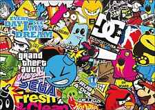 3 x A3 Sticker Bomb Sheet - JDM EURO DRIFT VW - Design 307 - (297MM x 420MM)