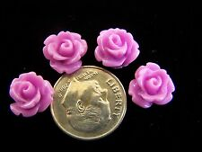 25 pcs Purple Pink Detailed Carved Rose Flower Resin Cabs Cabochons Beads