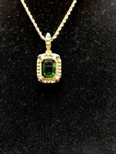 Faceted Emerald & Amethyst bead slide pendant with 18 inch gold rope chain