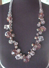 Costume Necklace Lucite Beads Amethyst Clear and Gun Metal Colors Faceted Mark