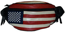 American Flag Fanny Pack Waist Wallet Genuine Leather New