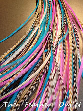 Lot 10 Grizzly Feathers Hair Extensions saddle Natural Pink Blue Brown NAT COMBO
