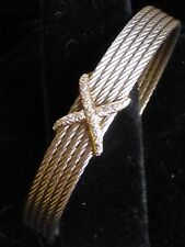 CHARRIOL Alor Celtique Noir Steel Cable 18K Gold Diamond X Cuff Bracelet Auth