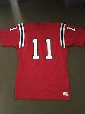 TONY EASON #11 New England Patriots Jersey Red SAND KNIT MacGregor Large Vtg