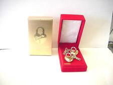 "Vintage Brass Lovelock 1 7/8"" Heart Shaped Padlock set of 2 with 2 keys"