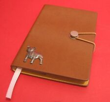 Staffordshire Bull Terrier Motif A6 Tan Journal Notebook Dog Christmas Gift