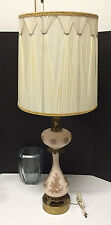 Vintage Underwriters Laboratories Pink Etched Milk Glass w/ Base Table Lamp��
