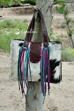 Western Turquoise Tooled Leather Cowhide Handbag Purse w/ Fringe BOHO Hippie