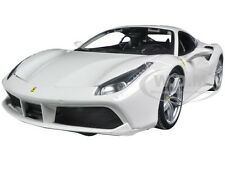FERRARI 488 GTB WHITE 1:18 DIECAST MODEL CAR BY BBURAGO 16008
