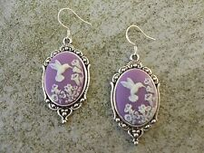 *CAMEO HUMMINGBIRD EARRINGS!!!  (PURPLE) .925 silv. stamped hooks!!! QUALITY!!!!