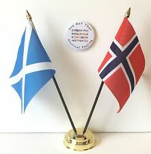 Scotland & Norway Double Friendship Table Flags & Badge Set