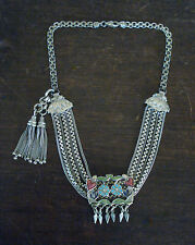 ANTIQUE Victorian SILVER/ENAMEL Albertina Pocket Watch CHAIN Tassel Fob NECKLACE