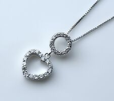 PRETTY STERLING SILVER PAVE SET CZ HEART PENDANT & CHAIN