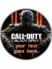 """Call Of Duty 3 7.5"""" Round Personalised Edible Icing Birthday Cake Topper"""