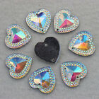 100pcs 16mm Heart Resin Rhinestone flatback beads Sew On 2 Hole ZZ12