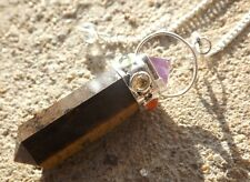 Tigers eye 7 chakra healing dowsing pendulum pendant.with amethyst pyramid top