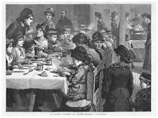 A Penny Dinner to Victorian Board School Children - Antique Print 1885