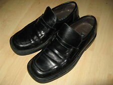 HARDLY USED MENS BOYS NEXT BLACK LEATHER SLIP ON LOAFERS SHOES SIZE 7 UK 41 EU.