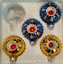 """Vintage Glass Christmas Tree Ornaments Indent  Ball - 2 1/4"""" set of 4"""