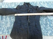 Adult Women's Mossimo Black Poly Filled Long Winter Coat Button Up Front 31833