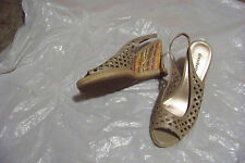 womens dressbarn whist taupe cut out wedge heels shoes size 8