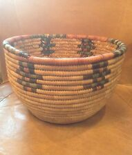 Vintage Hand Tight African Grass Weaved Coil Woven Basket