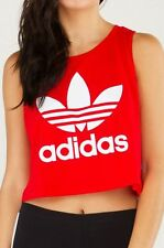 NEW! adidas Women's LOOSECROPPED TREFOIL TANK TOP Vivid RED  UK14 - US MED