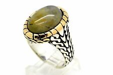 UNIQUE AGATE STERLING SILVER BRONZE MEN WOMEN RING SIZE 12.25 TURKISH JEWELRY