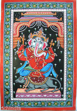 Hindu God Ganesha Hand painted miniature Painting India Traditional Art  INDIA