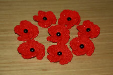 Handmade crochet brillant rouge 4 feuilles poppy remembrance day coquelicot broche