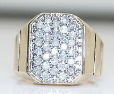 2/3Ct Big Men's 10K Yellow Gold .66 Ct RB Diamond Cluster Ring Size 10.25