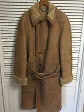 Brooks Brothers Genuine Sheepskin Shearling Long Double Breasted Belted Coat L