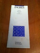 1986 Ingres Quick Reference Summary SQL Release 5.0 Rational Technology DEC Vax