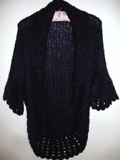 Naf Naf Mohair Mohair Wool Long Lace Knit Shrug Cardi Navy Size M 12 14